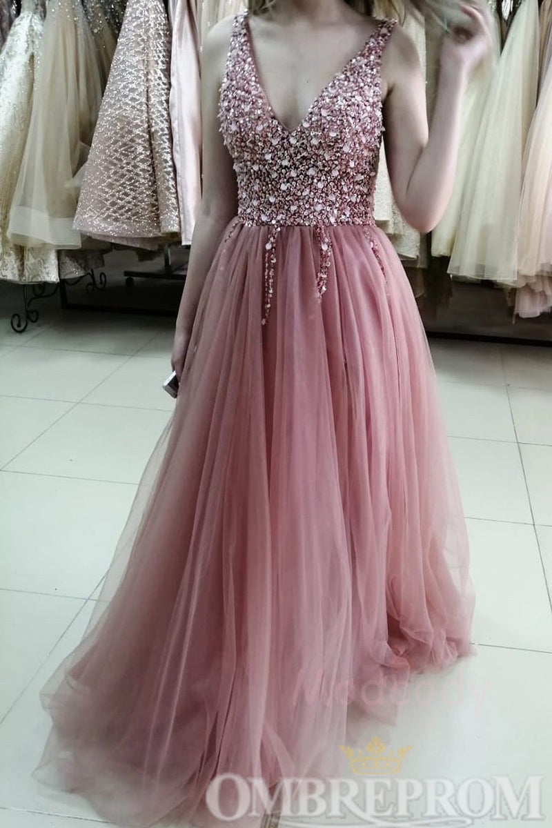 Pink Stunning V Neck Tulle Prom Dress with Beading D352