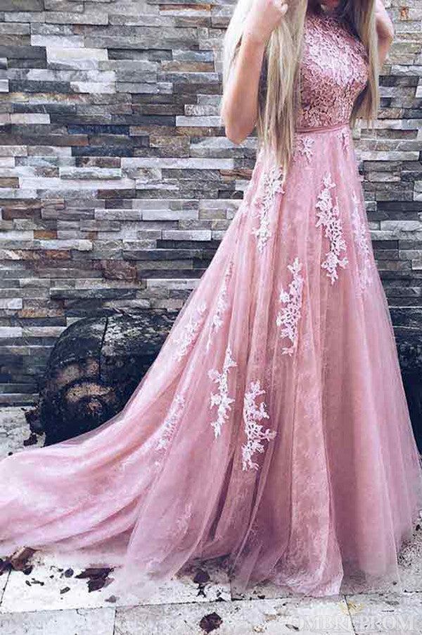 Pink V Back Lace Appliques Sweep Train Tulle Prom Dress D14