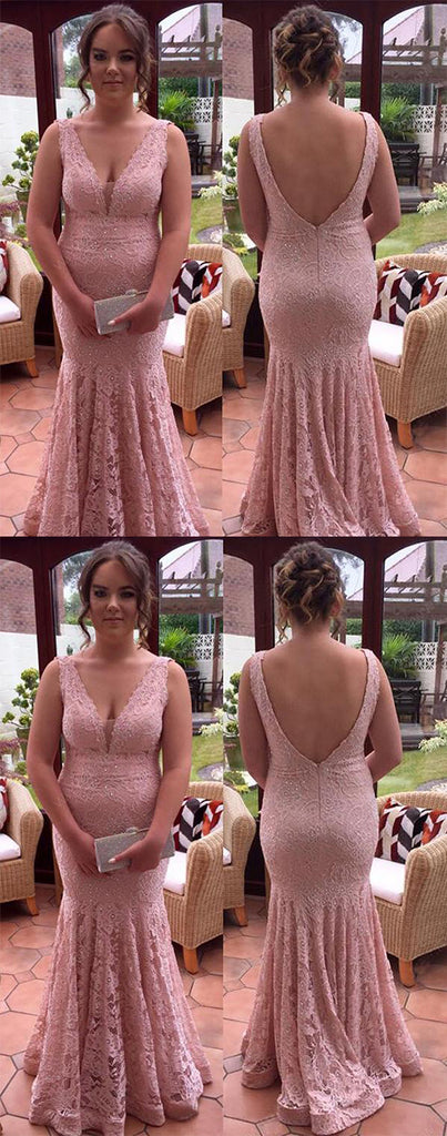 Chic Deep V Back Lace Appliques With Beaded Prom Dresses P631
