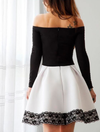 Chic Short Long Sleeve Lace A Line Homecoming Dresses M460 - Ombreprom