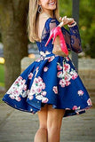 Elegant Floral Print Lace With Appliques Homecoming Dress M511