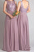 Cheap Lace With Appliques Floor Length Chiffon Bridesmaid Dress B364