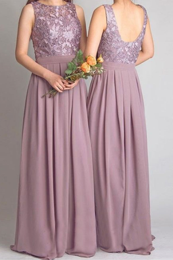 Cheap Lace With Appliques Floor Length Chiffon Bridesmaid Dress B364 - Ombreprom