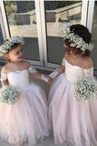 Cute Off the Shoulder Lace A Line With Appliques Flower Girl Dresses F51