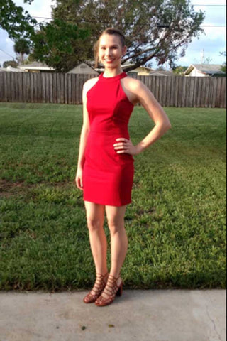 Elegant Red Sleeveless A Line Knee Length Homecoming Dress M634