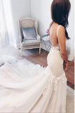 Charming Elegant Mermaid Zipper Back Lace Tulle Long V Neck Modest Wedding Dresses With Appliques W363