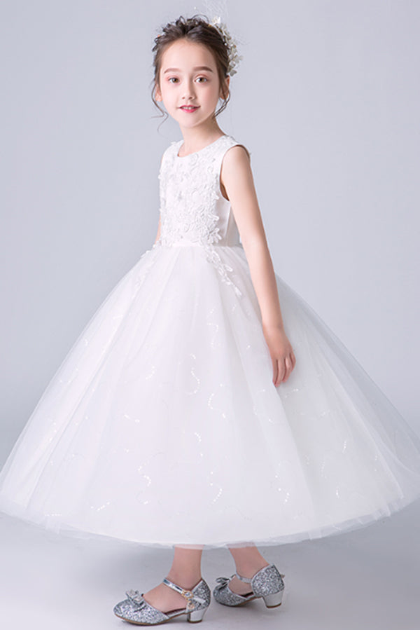 Elegant White Appliques Sleeveless Tulle Satin Ankle Length Flower Girl Dresses F89