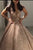 Stunning V Back Sweep Train Sleeveless Ball Gown Prom Dress P908