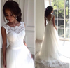 Beautiful Wedding Dresses A-line Short Train Ivory Tulle Bridal Gown W300