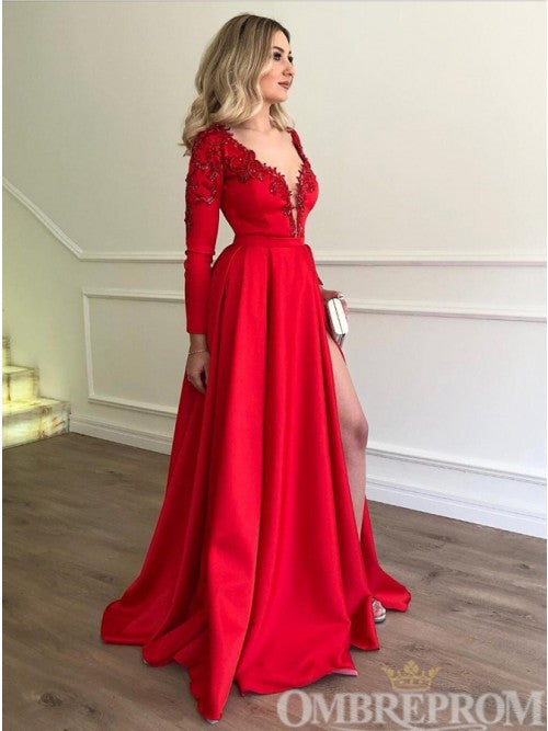 Red Long Sleeve V Neck Prom Dress with Split Side D313