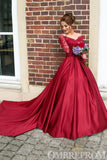 Red Long Sleeves Off Shoulder Ball Gowns Long Prom Dress D268