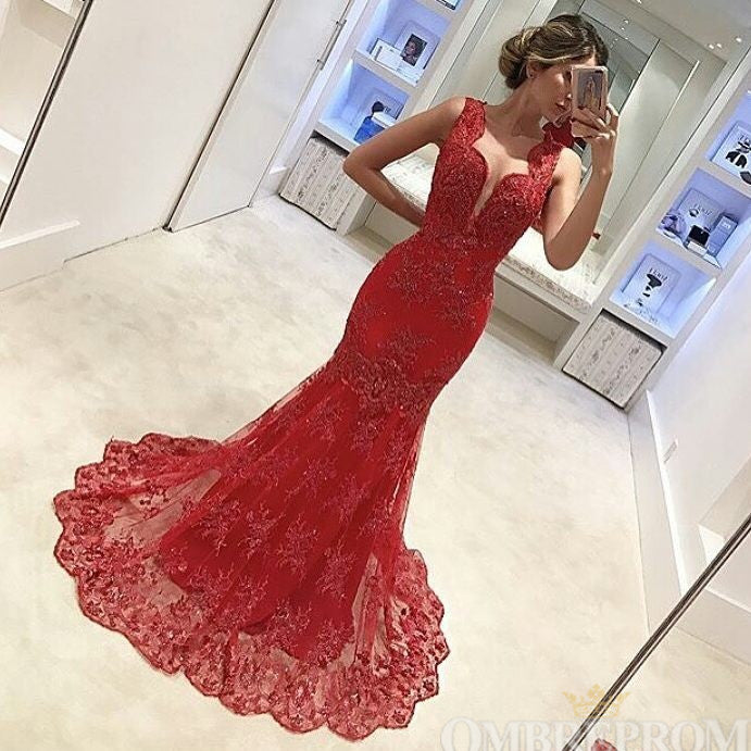 Red Mermaid Party Dress Sleeveless Sweep Train Prom Dress with Appliques D52