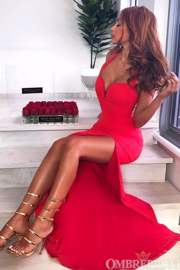 Red Mermaid Prom Dress Sleeveless with Split Side Floor Length Party Dress D59