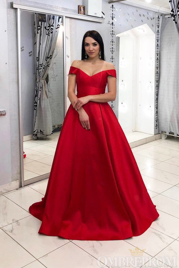 Red Off Shoulder A Line Satin Prom Dress Long Evening Dress D171