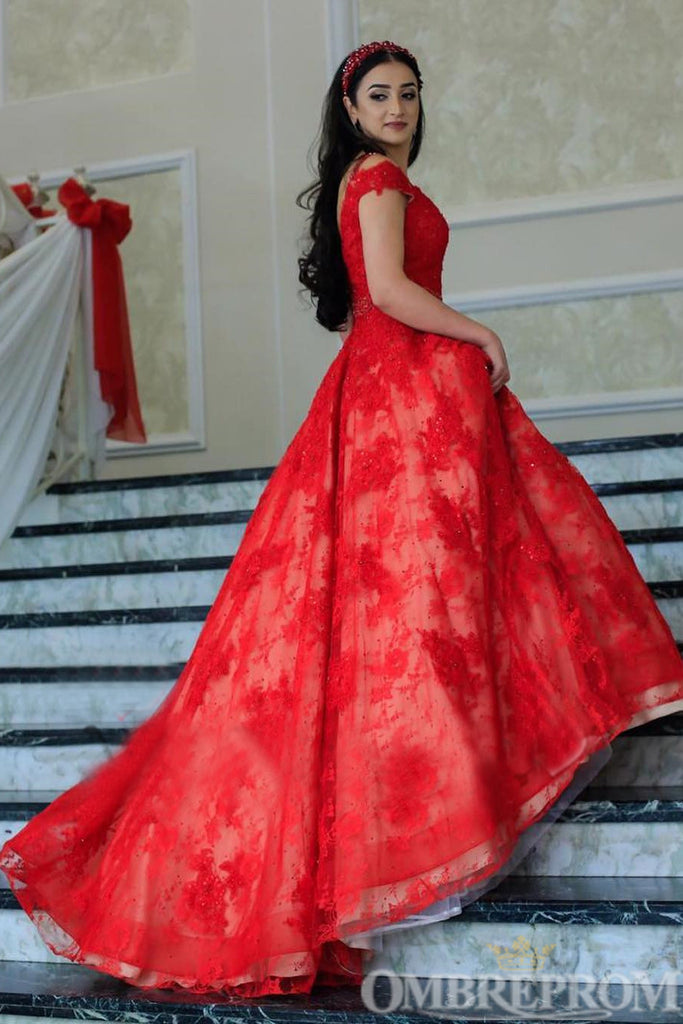 Red Off Shoulder V Neck A Line Lace Prom Dress Long Ball Gowns D319