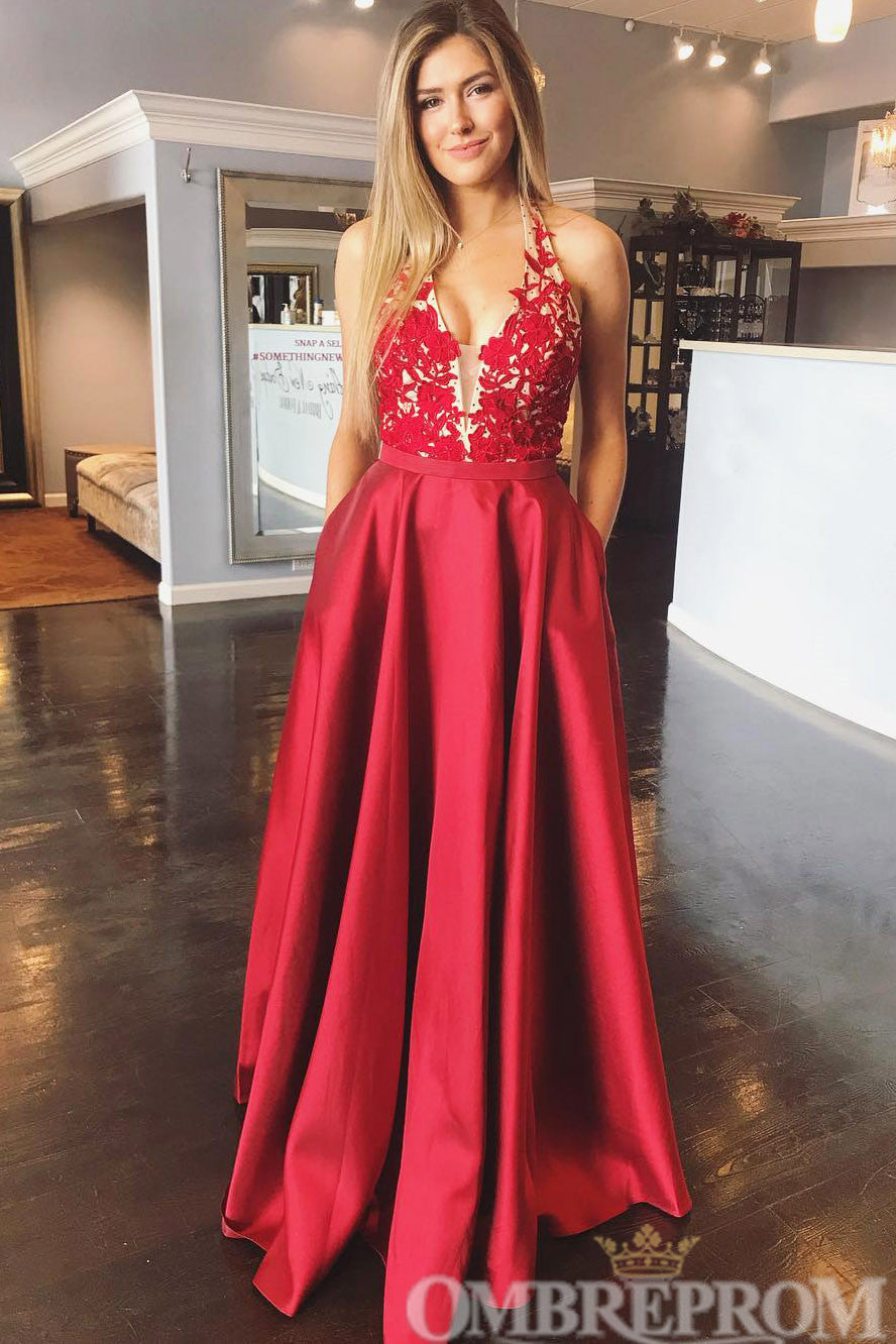 Red A Line Halter Party Dress Long Prom Dress D193