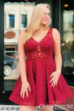 Red V Neck Sleeveless Knee Length Lace Prom Dress M660