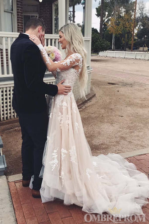 Romantic Long Sleeves Deep V Neck Lace Sweep Train Wedding Dresses W581