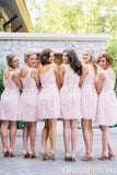 Romantic Pink Round Neck Short Lace Bridesmaid Dress B507