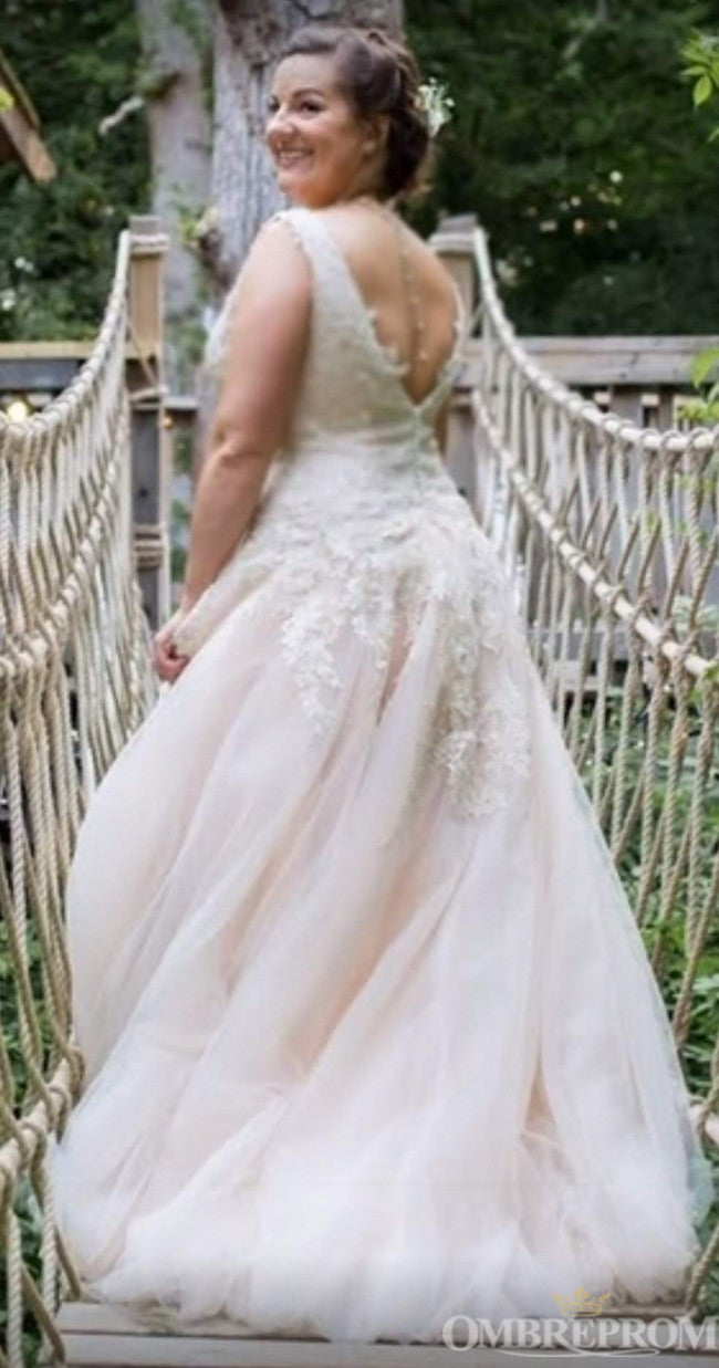 Romantic V Neck Sleeveless Bridal Gown Sweep Train Lace Wedding Dress W660