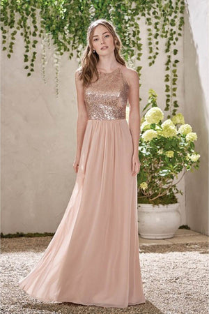 c115aba3f5 Stunning Spaghetti Straps Backless With Sequins Chiffon Bridesmaid Dress  B418