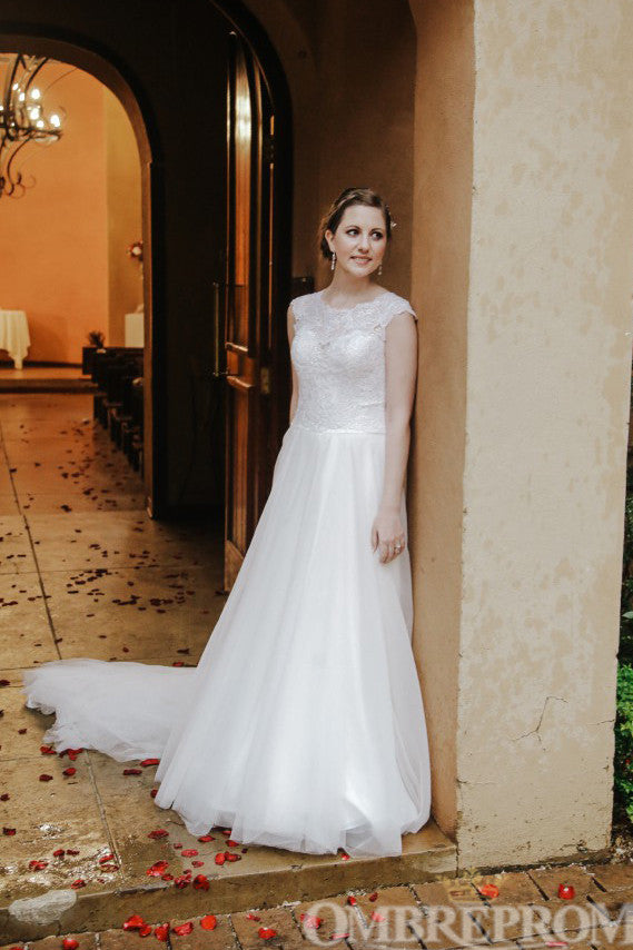 Round Neck A Line Wedding Dress Sweep Train Bridal Gown W697