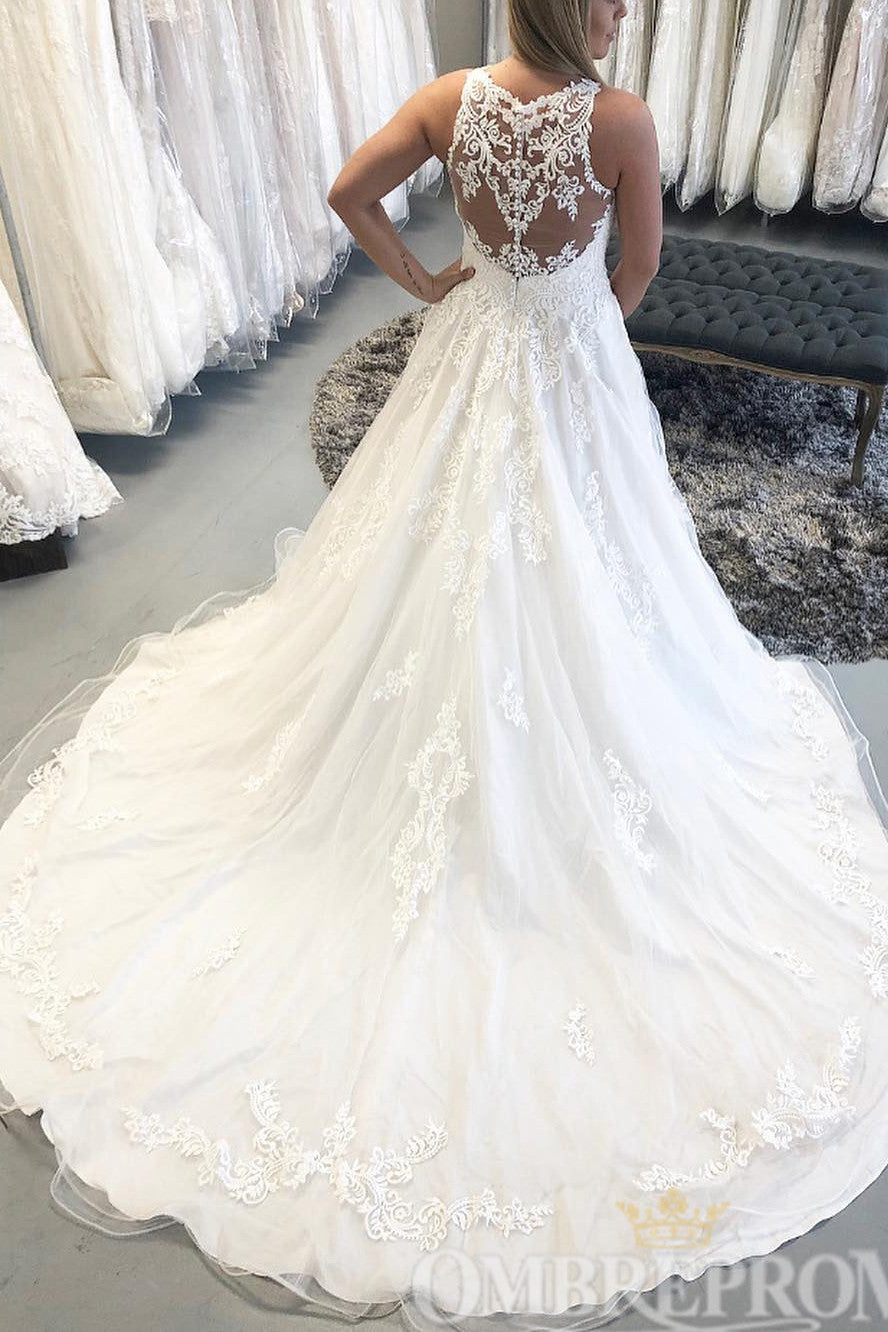 Round Neck Lace Sleeveless A Line Wedding Dresses W782