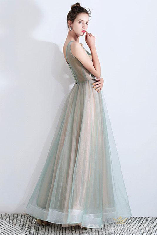 Round Neck Sleeveless A Line Prom Dress with Appliques D300