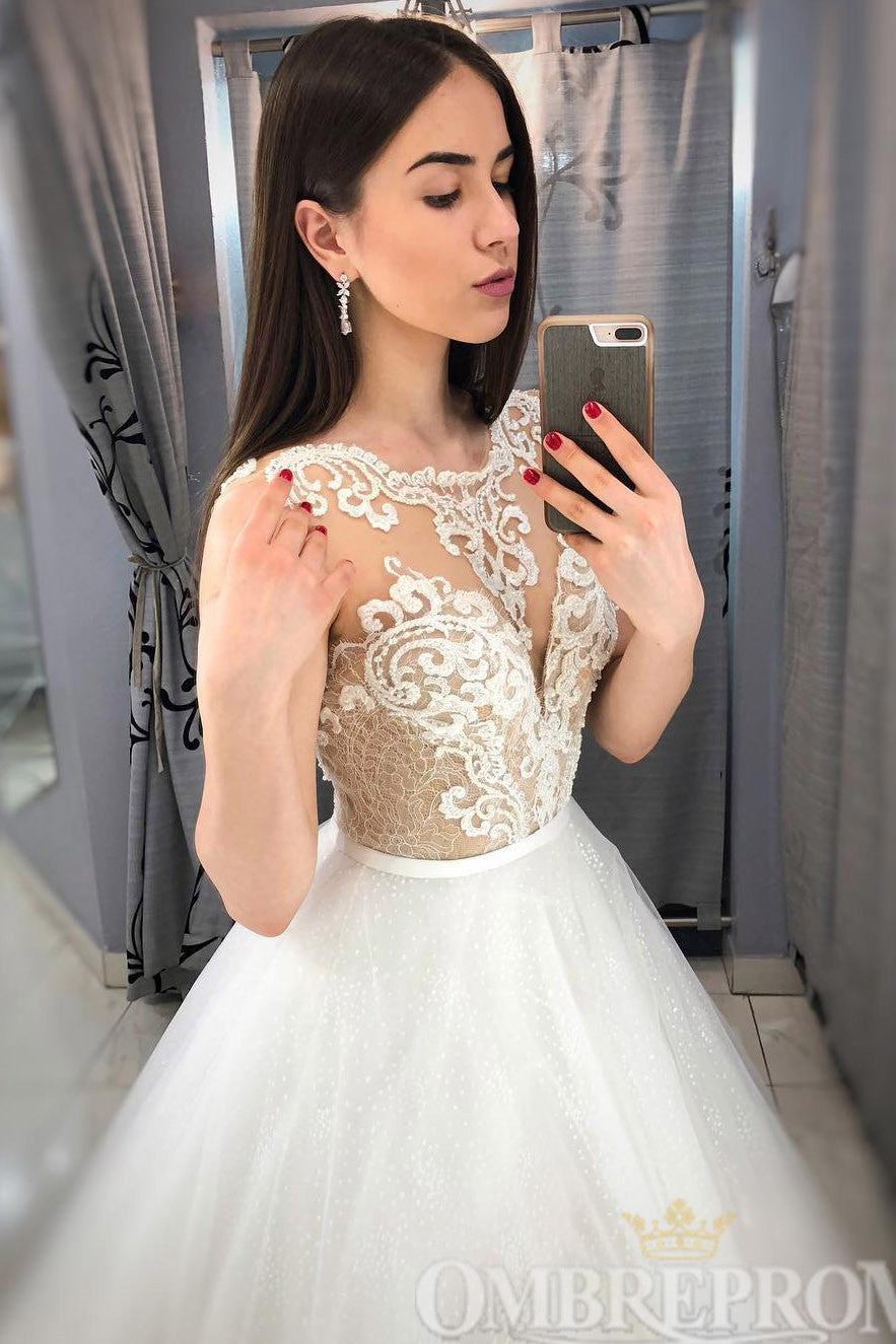 Round Neck Sleeveless Wedding Dress Lace Ball Gowns W755