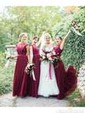 Round Neck Tulle Floor Length Burgundy Bridesmaid Dress B474