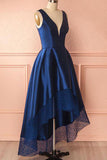 A-line High Low Royal Blue Prom Dresses Deep V-Neck With Lace Hem M799