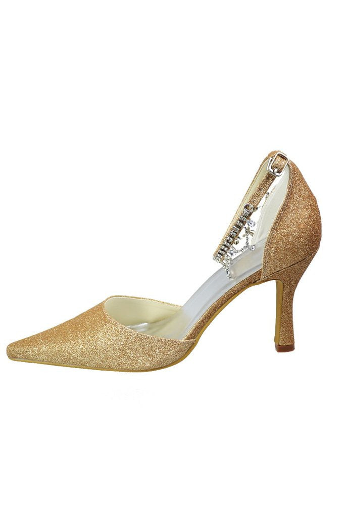 Gold Sequin Shiny Gorgeous Sparkly Ankle Strap Shoes For Women SH0024