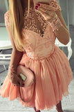 Long Sleeve Sheer Homecoming Dresses,Appliques Beading Short Prom Dress