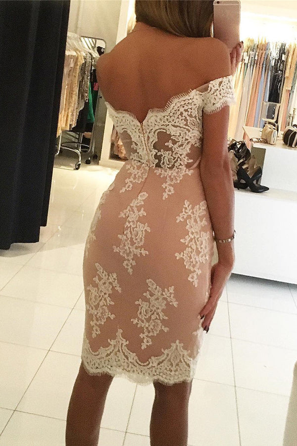 Off Shoulder Mid Back Homecoming Dress,Lace Appliques Bodycon Short Prom Dress H208 - Ombreprom