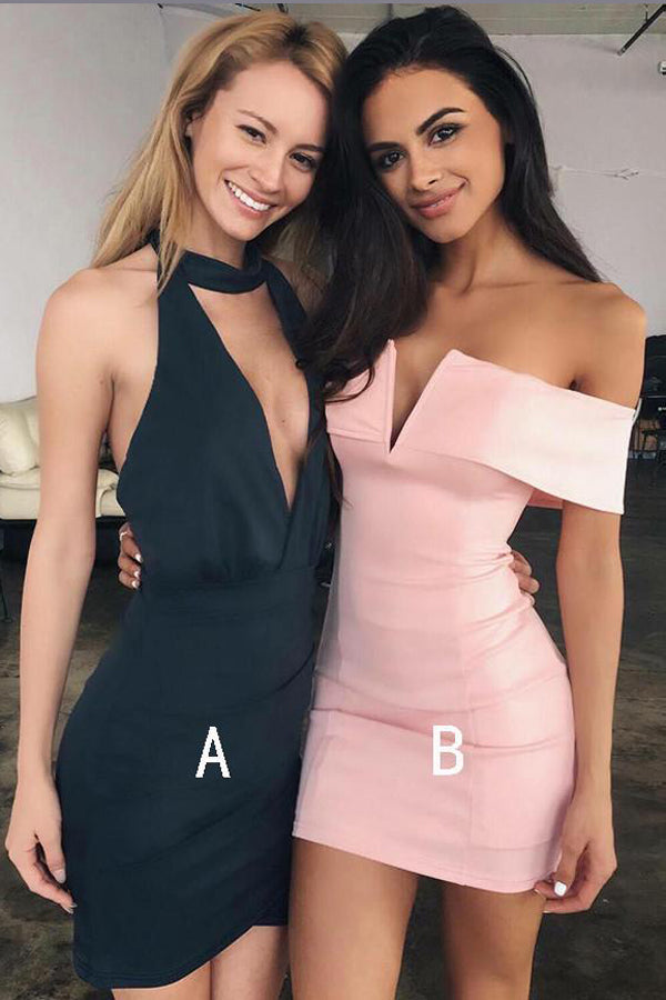 Pink Off Shoulder Homecoming Dresses,Black Halter Deep V Neck Short Prom Dress