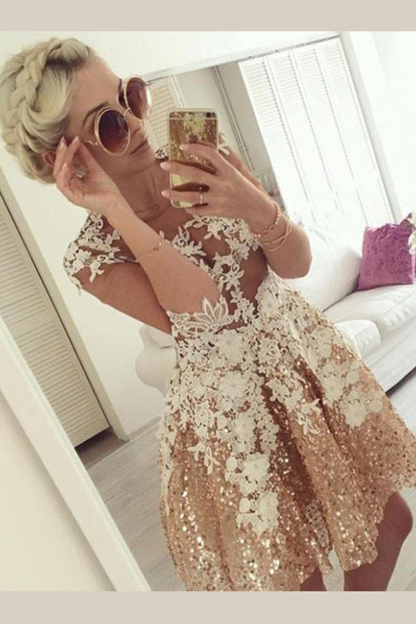 Gold Long Sleeve Sequins Beading Homecoming Dress,Appliques Sheer Short Prom Dress