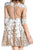 Half Sleeve Sequins Beading Homecoming Dress,Appliques Sheer Short Prom Dress H182