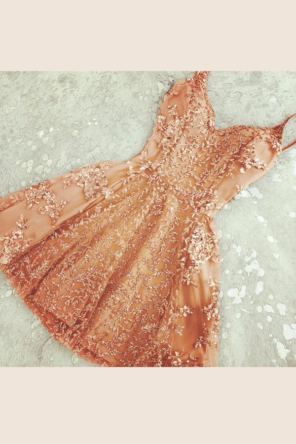 Orange Sweetheart Spaghetti Strapless Homecoming Dresses,Beading Appliques Short Prom Dress