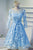 Bule Half Sleeve Homecoming Dress,Keyhole Back Appliques Short Prom Dress H183 - Ombreprom