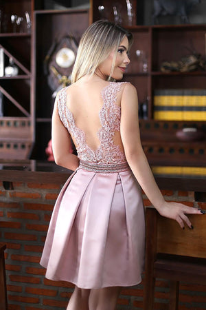 Pink Deep V Neck Open Back Homecoming Dress,Appliques Short Prom Dress H185 - Ombreprom