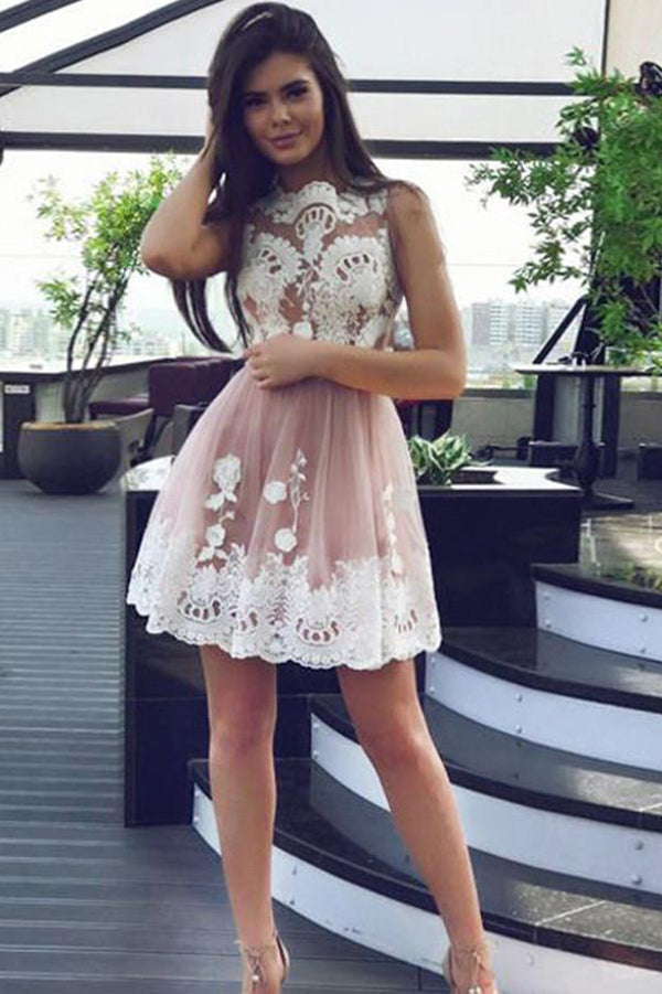 Boat Sleeveless Homecoming Dress,Lace Appliques Short Prom Dress H195 - Ombreprom