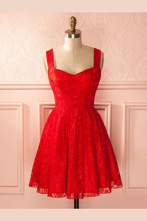 Red Curve Sleeveless Homecoming Dress,Open Back Appliques Short Prom Dress