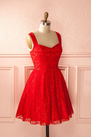 Red Curve Sleeveless Homecoming Dress,Open Back Appliques Short Prom Dress H200 - Ombreprom
