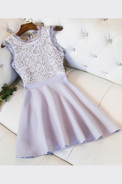 Lavender Boat Sleeveless Homecoming Dress,Appliques Short Prom Dress,Party Dress