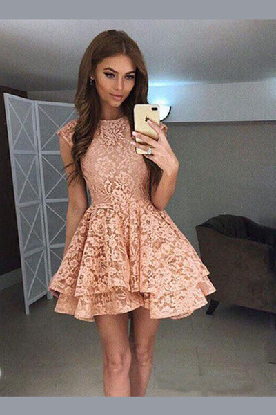 Boat Sleeveless Homecoming Dress,Appliques Floral Short Prom Dress,Party Dress H202 - Ombreprom