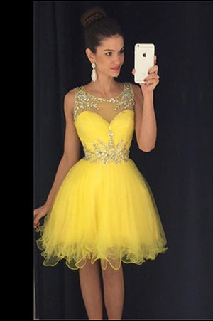 Yellow Sheer Sleeveless Homecoming Dress,Layers Tulle Beading Short Prom Dress H204