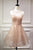 Halter Sleeveless Homecoming Dress,Sheer Back Tulle Short Prom Dress H206