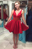 Red Deep V Neck Sleeveless Homecoming Dress,Deep V Back Beading Short Prom Dress
