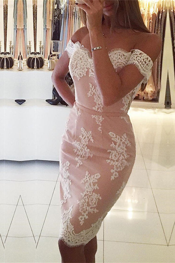 Off Shoulder Mid Back Homecoming Dress,Lace Appliques Bodycon Short Prom Dress