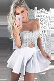 Two Piece Sweetheart Strapless Homecoming Dress, Appliques Short Prom Dress H212